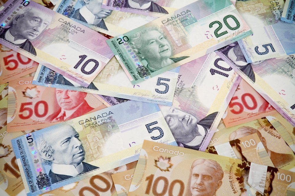 Canadian Money in pile